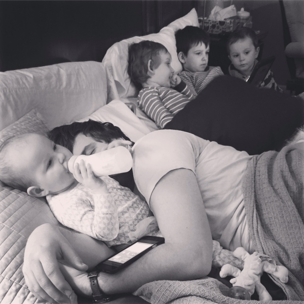 """My heart is full every morning to see my family wall snuggled up like this."""